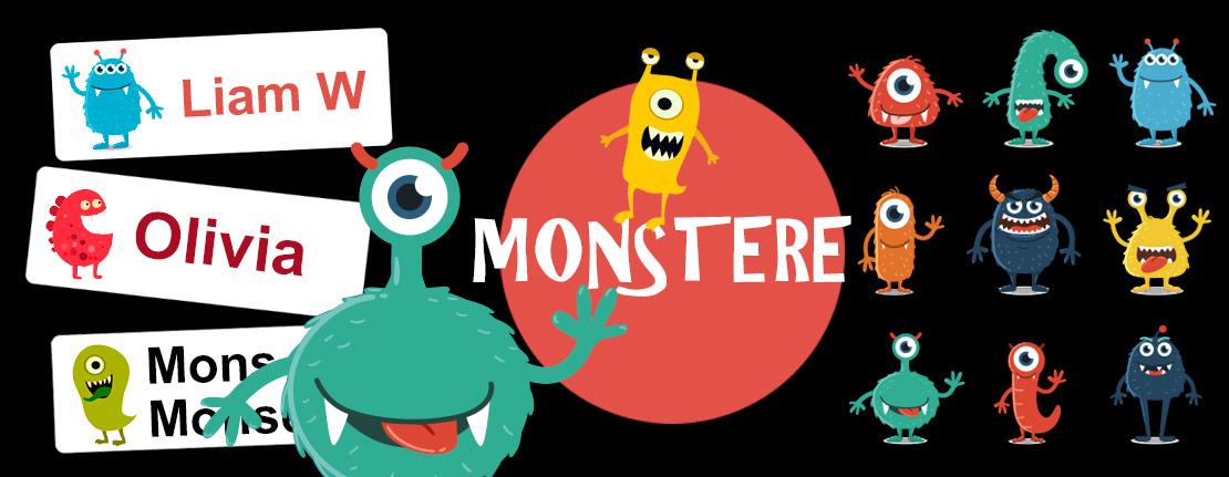 Navnelapper med monstere